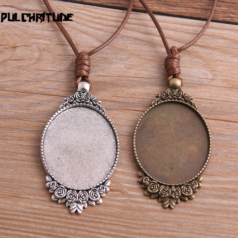 20Pcs 30*40MM Oval Antique Colour Zinc Alloy Cameo Cabochon Pendant Trays Bases