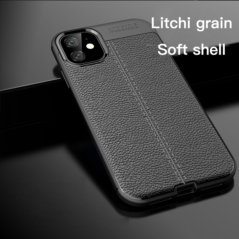Galleria fotografica Luxury Litchi PU Leather Silicone Phone Case For iPhone 11 Pro Max XSmax XR XS X 8 7 6s 6 Plus Ultra-thin TPU Funda Cover Coque