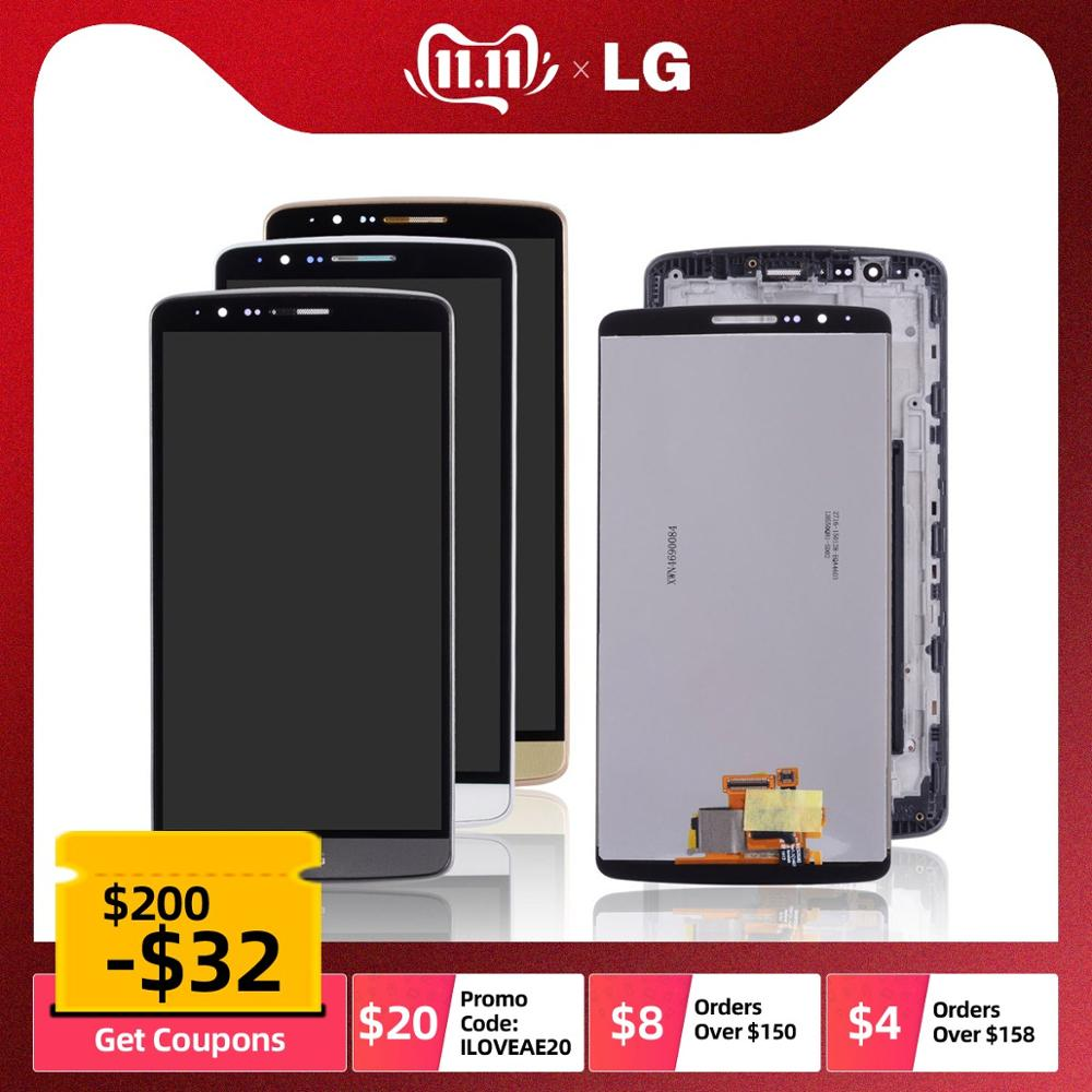 Original Display For LG G3 D850 D851 D855 LCD Touch Screen With Frame Replacement Black White Gold