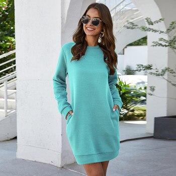 Leosoxs осенне-зимнее платье-свитер с круглым вырезом и длинным рукавом для женщин 2020 Новое модное однотонное свободное мини-платье с карманом для женщин Vestidos 3
