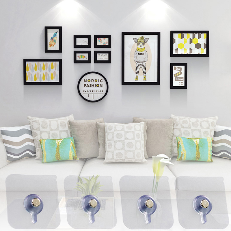 4Pcs/Set Photo Frame Hanging Hook Decorative Painting Bathroom Wall Strong Suction Cup Sticking Nail