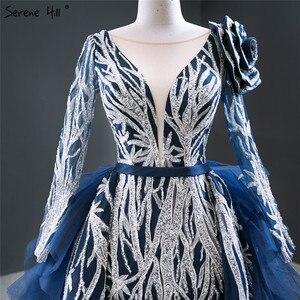 Image 4 - דובאי כחול ארוך שרוול פרחי ערב שמלות 2020 נצנצים ואגלי יוקרה סקסי פורמליות שמלת Serene היל HM67079