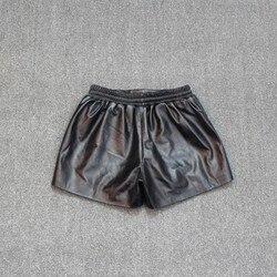2020 New Star Printed Womens Shorts Casual Elastic Waist Wide Leg Streetwear Black Genuine Leather Punk Female Short Trousers