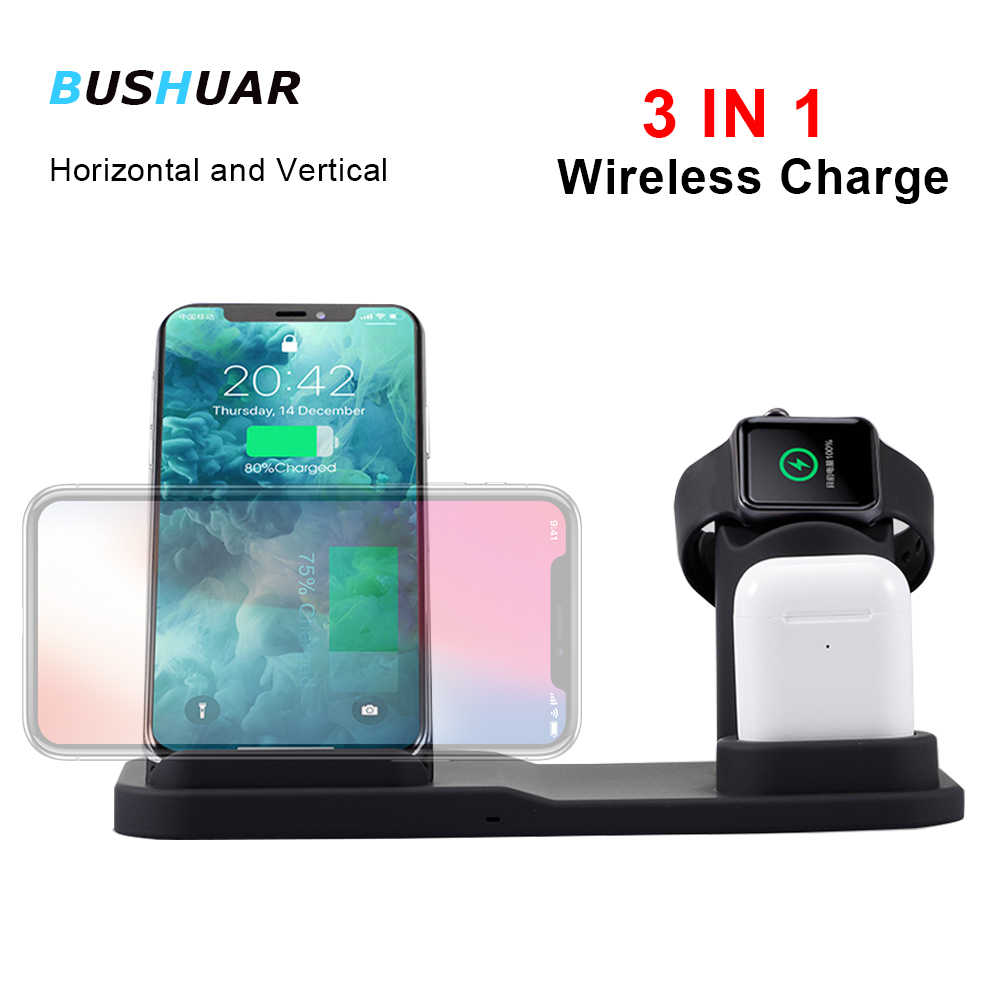 3 in 1 Wireless Charger Stand for iPhone X 8 XS Charger Dock Station for Apple Watch 4 3 2 Airpods Charger Holder for Samsung S9