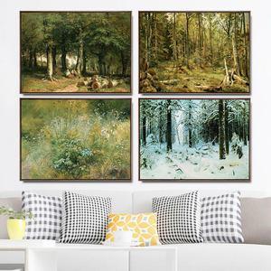 Pintura em tela árvore arte da parede hd impressão floresta poster decoração para casa pastoral modular paisagem imagens grama para o quarto quadro