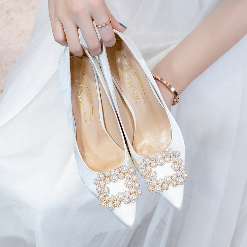 BaoYaFang 2020 Autumn NEW white wedding shoes Bridal High heels shoes ladies big size party dress shoes woman High Pump