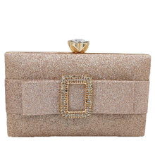 Champagne Evening Bag Women Diamond Rhinestone Clutch Crystal Day Wallet Wedding Purse Party Banquet Glitter Bolso Mujer