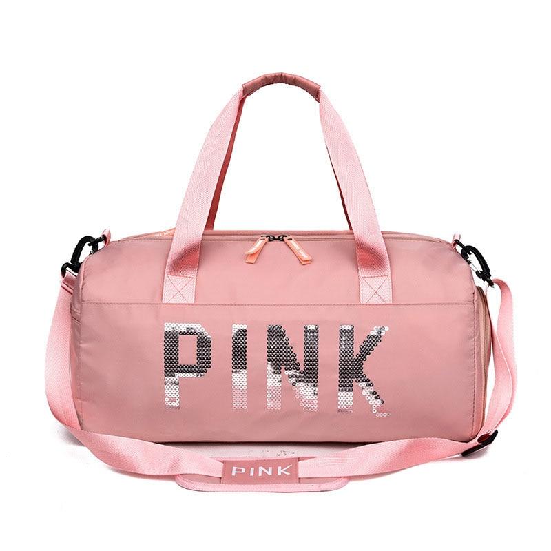 Fashion Sequins PINK Gym Bag Handbag Women Shoe Compartment Waterproof Sport Bags For Fitness Training Yoga Bolsa Sac De Sport