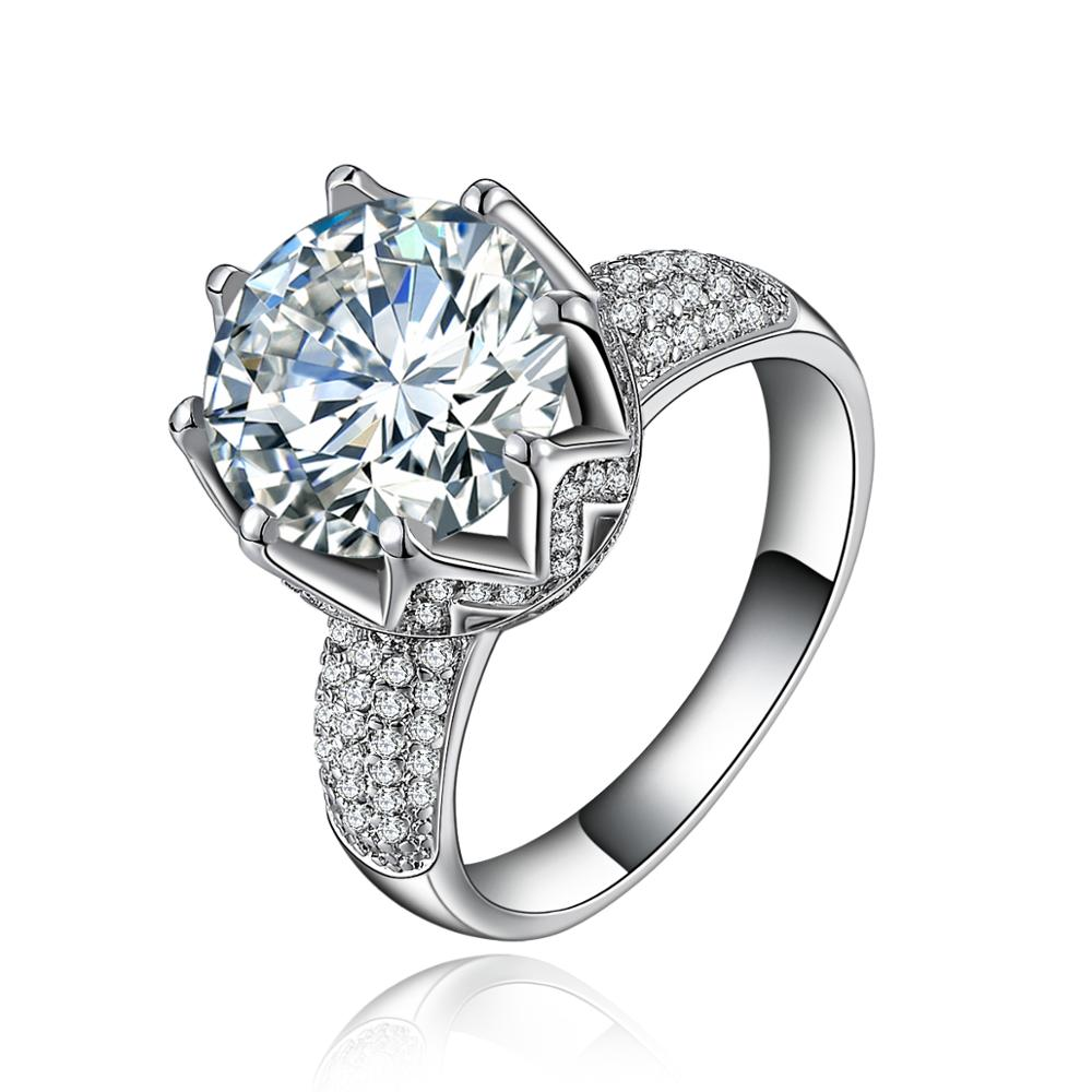 MDEAN  AAA Zircon Jewelry 925 Sterling Silver Ring Luxury Engagement Wedding Rings for Women accessory Size 6 7 8 9 H034