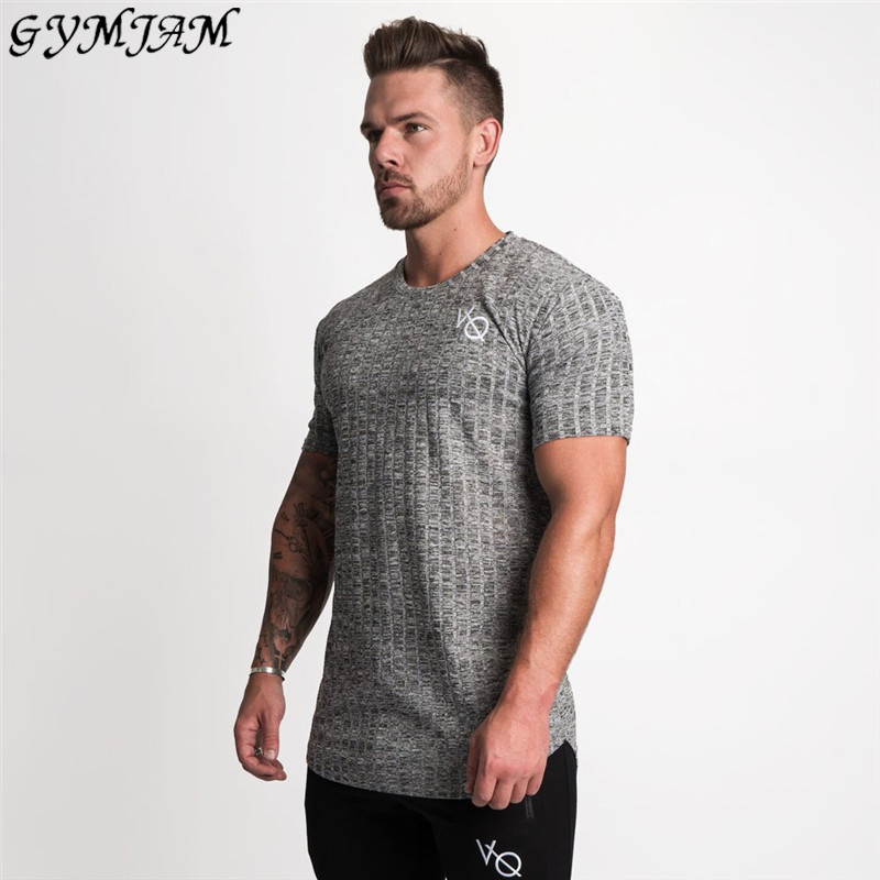 Fashion Fitness Men's T-Shirt Elastic Men's Sportswear Jogger Men's T-Shirt Workout Casual Short Sleeve Tops