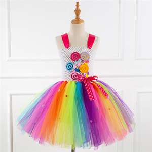 Image 3 - Fancy Rainbow Candy Costume Cosplay For Girls Halloween Costume For Kids Carnival Party Suit Dress Up