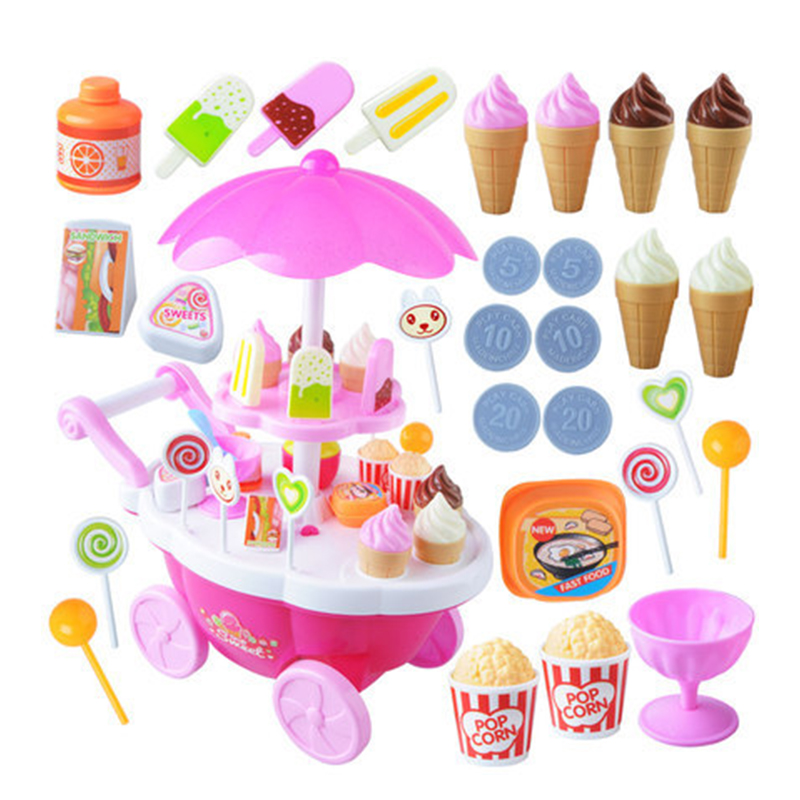 39 PCS Simulation Small Carts Play house game Ice Cream Shop Supermarket Barbecue Children Toys Playing Home Baby Toys Have Box