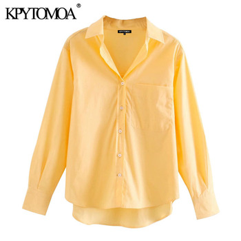 KPYTOMOA Women 2020 Fashion With Pockets Loose Irregular Blouses Vintage Lapel Collar Long Sleeve Female Shirts Chic Tops