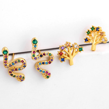 2019 rainbow colorful cz snake earrings tree of life mini stud minimal delicate girl women simple jewelry ers-q78