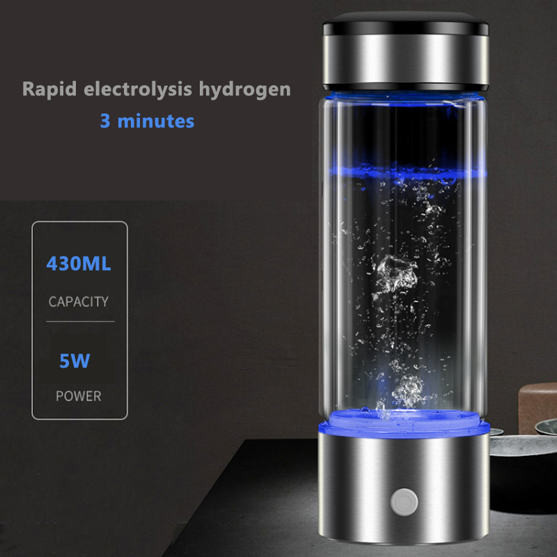 Hydrogen Generator Cup Water Filter 430ml Alkaline Maker Hydrogen-Rich Water Portable Bottle Lonizer Pure H2 Electrolysis