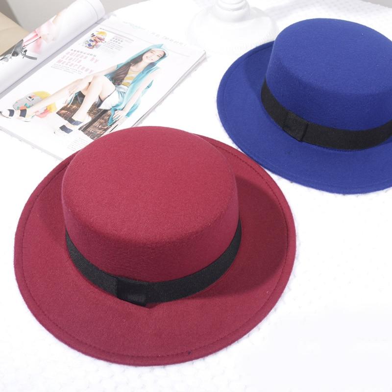 Spring Autumn Woolen Women Hat Classic Solid Color Felt Fedoras Hats Female Lady Wide Brim Flat Top Jazz Cap 5