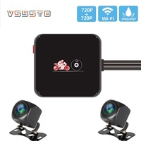 VSYSTO Dual HD 720p resolution Motorcycle DVR D6HL updated from C6 wifi video recorder mini box waterproof Motorbike Dash cam