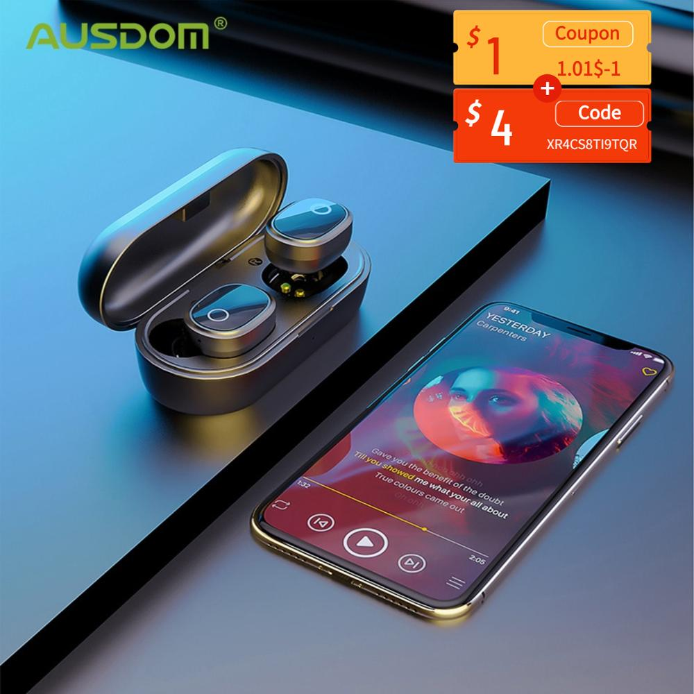 AUSDOM TW01S Bluetooth Earphones TWS Wireless Headphones with Dual Mic In-Ear Handsfree Sports Headsets  For IOS Andorid