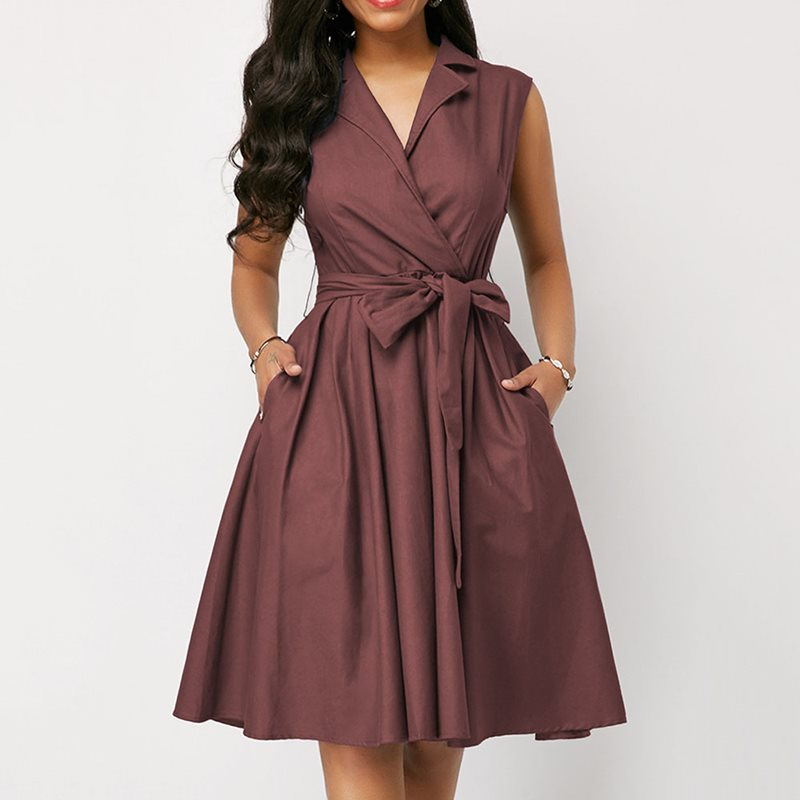 Summer Elegant Vintage Office Ladies <font><b>Sexy</b></font> African Women <font><b>Dresses</b></font> <font><b>Big</b></font> <font><b>Size</b></font> Aline Notched Lapel Pocket Retro Fashion <font><b>Dress</b></font> S-5XL image