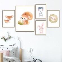 Cartoon Deer Rabbit Bear Owl Panda Nursery Wall Art Canvas Painting Nordic Posters And Prints Wall Pictures Baby Kids Room Decor cartoon cute rabbit bear quote nursery wall art canvas painting nordic posters and prints wall pictures for baby kids room decor