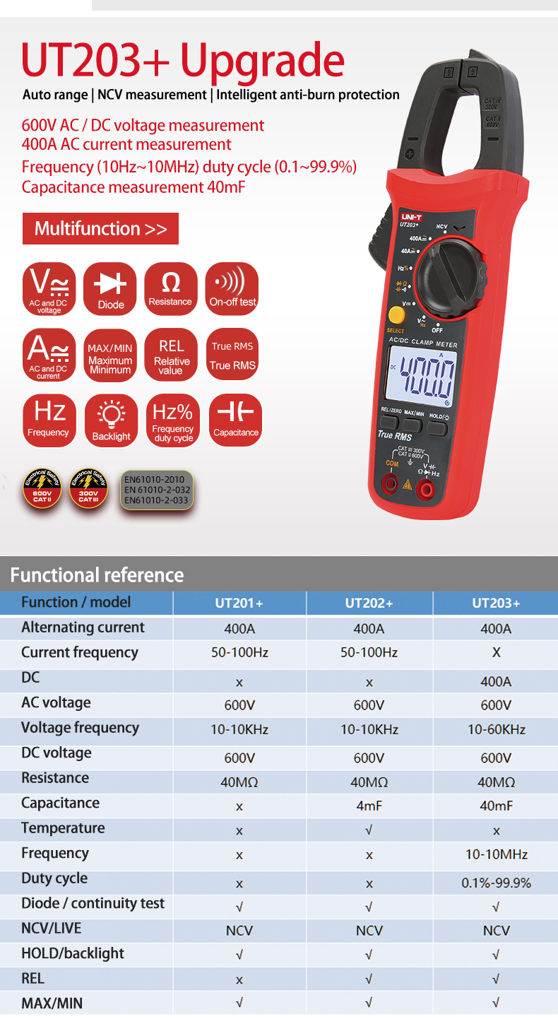 Clamp Meter Multímetro AC DC Amper Tester 400A 600V Power Clamp Meter