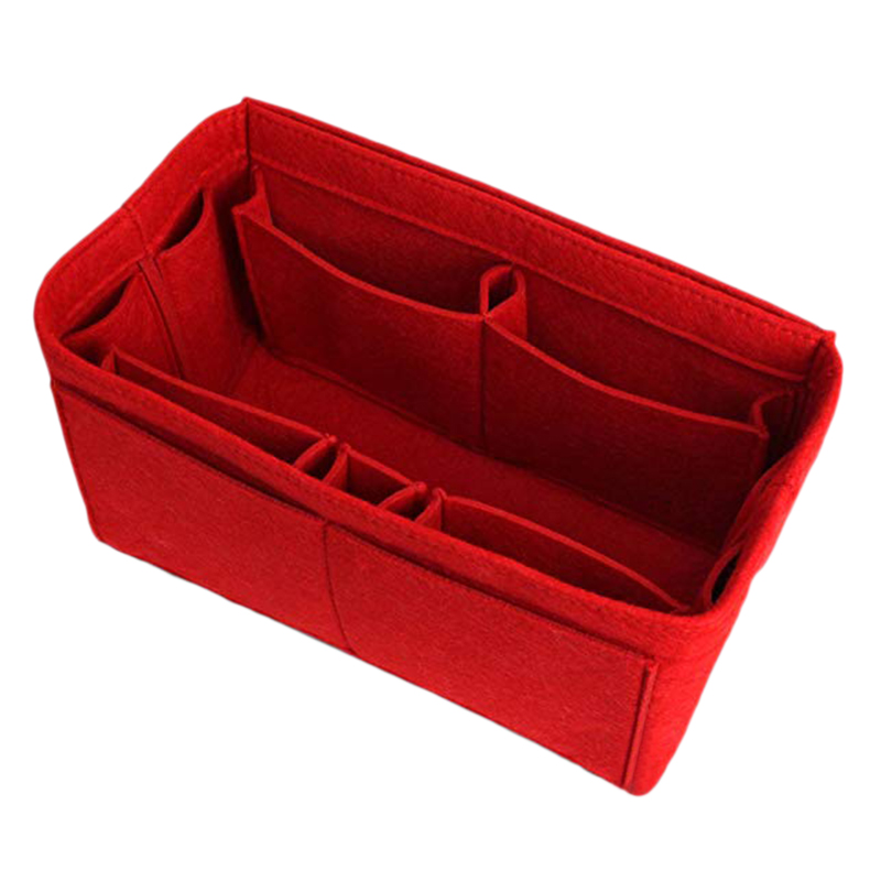 Red Home Storage Bag Purse Organizer Felt Insert Bag Makeup Organizer Inner Purse Portable Cosmetic Bags Storage Tote