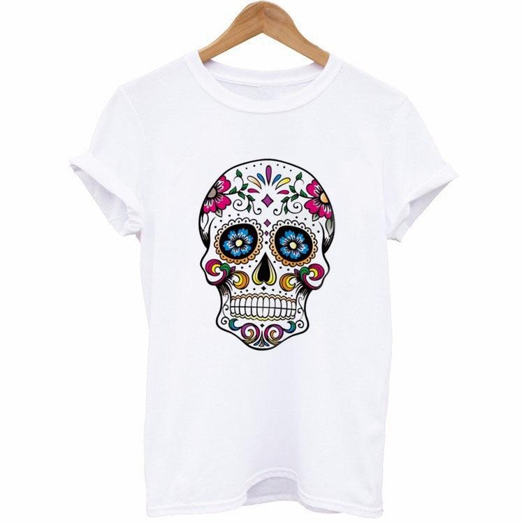 Short Sleeve Female T ShirtsF1029 New Woman Shirt Floral Skull Print Junior Tops Tee Punk Street Style Men Lady TShirt