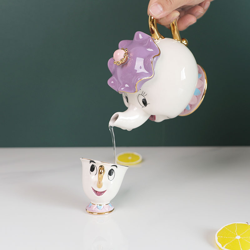 Hot Sale Beauty And The Beast Tea Set Mrs Potts Teapot Chip Cup Sugar Bowl Pot Cup Set Cogsworth Clock Lovely Birthday Xmas Gift