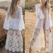2019 Sexy See Through Long Kimono Cardigan White Lace Blouse Summer Beachwear Clothing Plus Size Women Shirts Top Female недорого