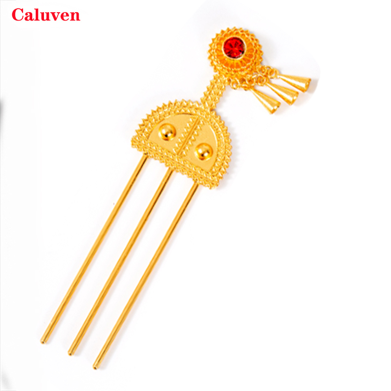 Red Stone Ethiopian Hairpin Gold Hair Piece From Africa Dubai Pin / Banasha Hair Sticks Hair Pieces Bridal Jewerly