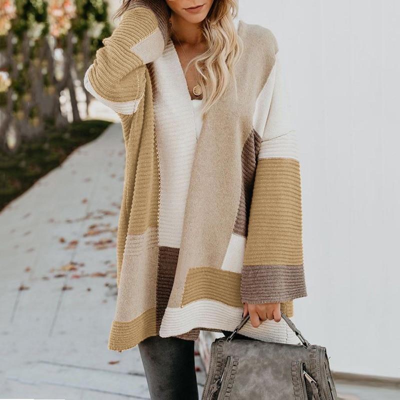 2020 Women knitted cardigan geometric stitching vintage long women sweater warm autumn winter loose cardigan coat female DR2246 (26)