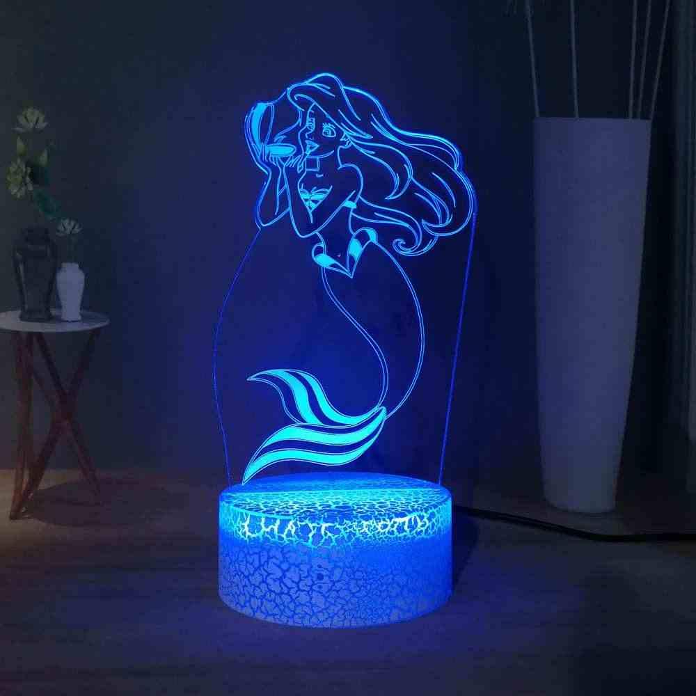 Little Mermaid Ariel Fairy Tale LED เด็ก Sleep Night ลูกสาวของ Sea RGB Multicolor Creative เด็กตกแต่งห้องของเล่นของขวัญ