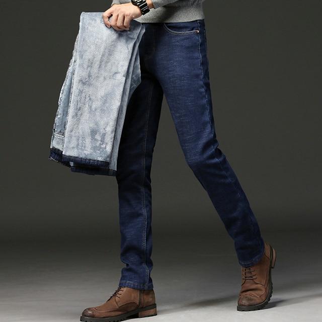 2019 Men Fashion Winter Jeans Men Black Slim Fit Stretch Thick Velvet Pants Warm Jeans Casual Fleece Trousers Male Plus Size 5