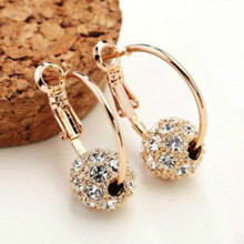 Glamour Fashion Earrings Crystal Lucky Ball Gold / Silver High Quality Women Party Wedding Jewelry