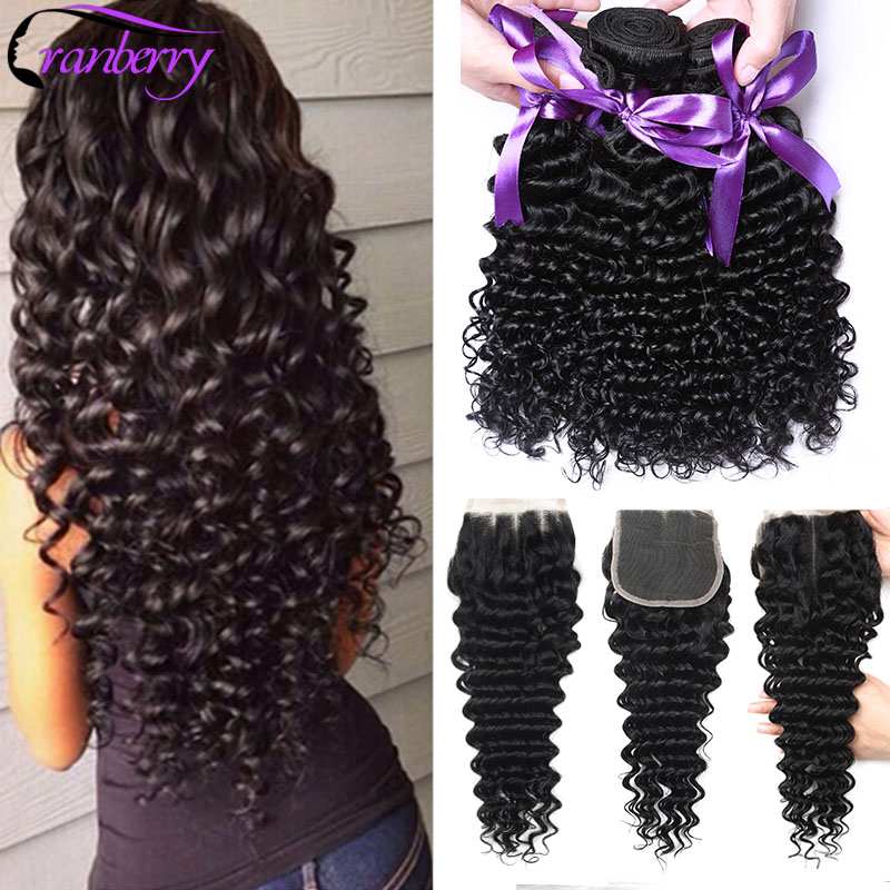 CRANBERRY Peruvian Human Hair Bundles With Closure Swiss Lace 4 Pcs/lot 100% Remy Hair 3 Budnles Deep Wave Bundles With Closure