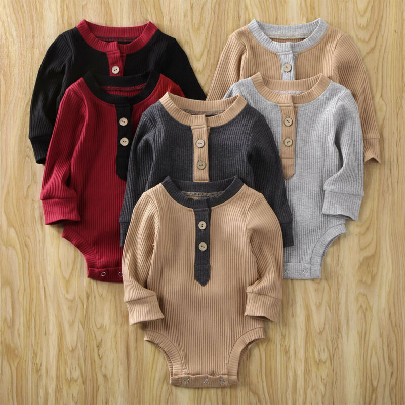 2020 Cotton Newborn Baby Boy Girls Plasuit Infant Knitted Button Bodysuit Gentleman Suit Winter Spring Jumpsuit Outfit Clothes