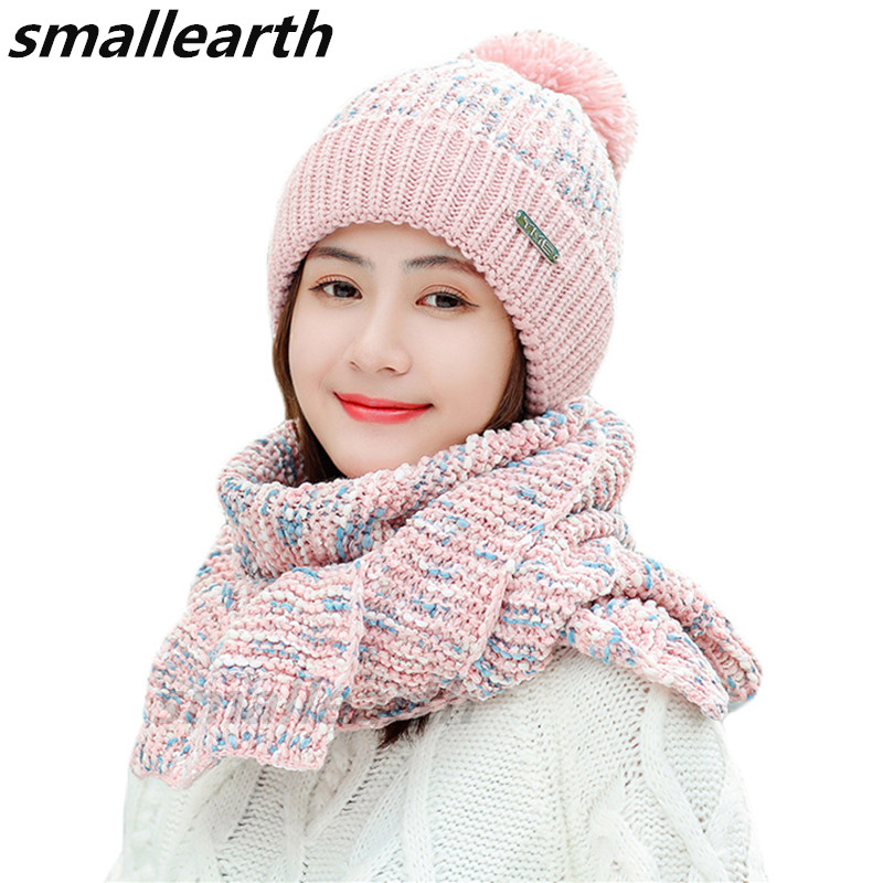 2019 New Knitted Winter Hat Scarf Set Women Thick Cotton Beanies Scarf 2pcs Set Female Plush Hats Winter Accessories Girls Caps