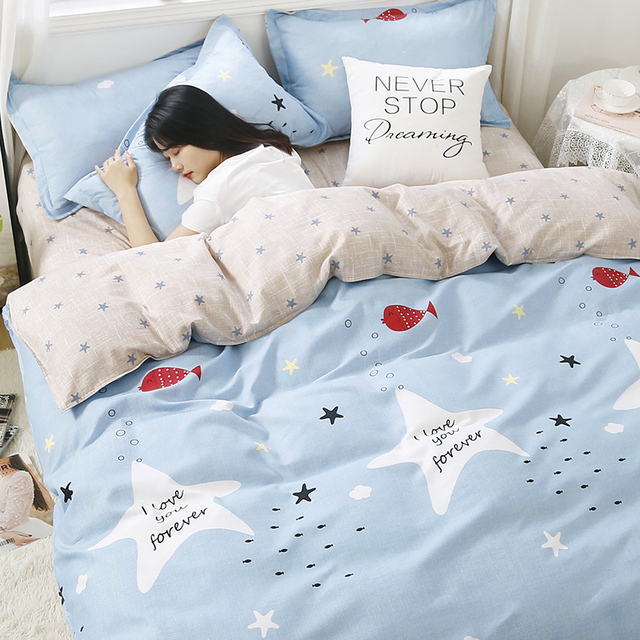 Nordic Bedding Set Light Blue With Star 22