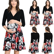 Summer new print V-neck maternity dress Breastfeeding pregnant women pajamas skirt Clothes