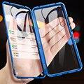 Магнитный металлический корпус адсорбции для samsung Galaxy A50 A60 A70 A80 A90 Магнитный чехол для телефона Передняя и задняя стеклянная крышка