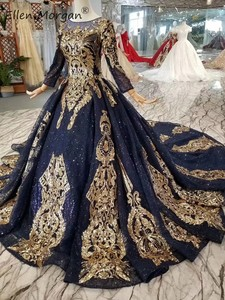 Image 3 - Navy Blue Long Sleeves Ball Gowns Wedding Dresses 2020 Arabic Muslim African Black Skin Gold Lace Vintage for Bridal Women Wear