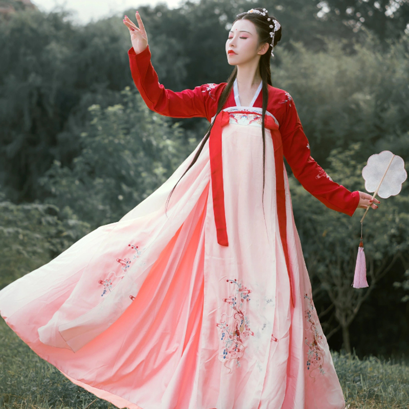 Hanfu Costume Chinese Style Fairy Princess Dress Traditional Ancient Elegant Red Hanfu For Women Cosplay Stage Clothing DQL2220