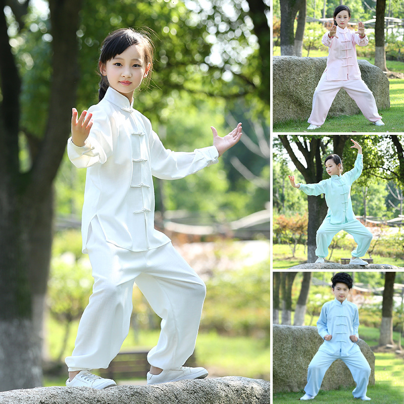 Kids Adult Martial Arts Chinese Traditional Wushu Kung Fu Clothing Set Children TaiChi Uniform Wing Chun Hanfu Tang Suit Costume