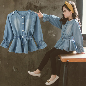 Image 4 - Baby Blouse Spring Fall 2020 Children Jeans Coat Big Girls Clothes School Shirts for Girls Button Down Tops and Blouses 6 8 12Y