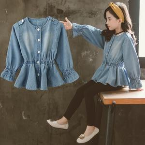 Image 4 - Bebek bluz bahar sonbahar 2020 çocuk kot ceket büyük kız elbise okul gömlek kızlar için düğme aşağı Tops ve bluzlar 6 8 12Y