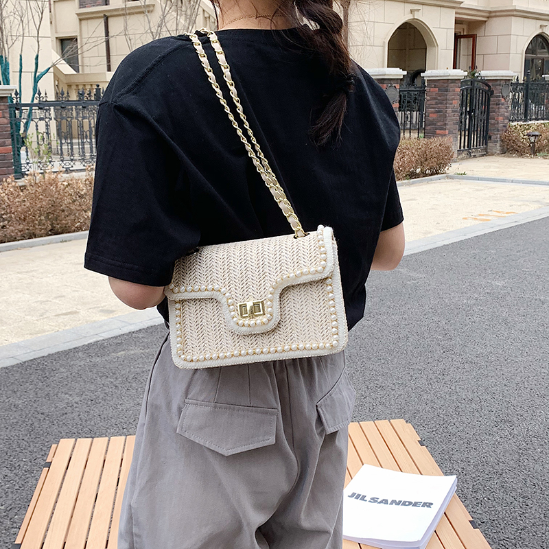 Fashion Pearl Straw Hand bag with Woven Pattern for Women 2021