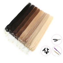 MRSHAIR волосы для loop-наращивания на микро-кольце, 100% Humn волосы на микро-бусины пряди для наращивания волос с бесплатными инструментами Ombre Чело...