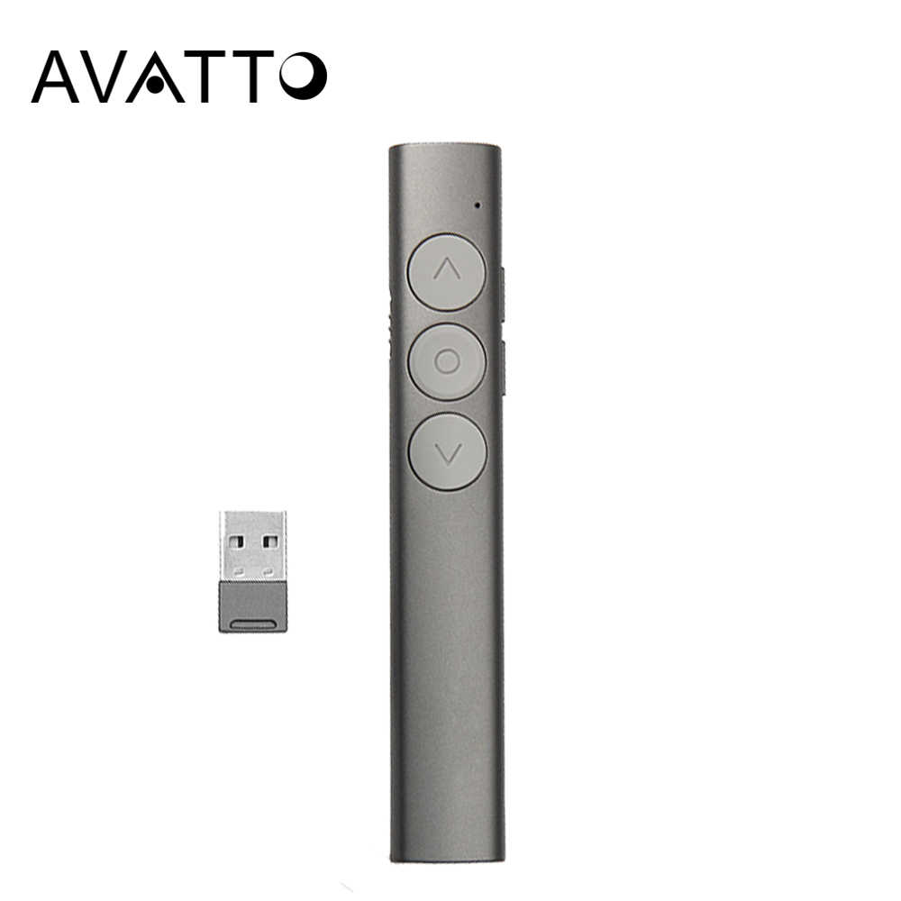 Avatto 2.4G Nirkabel Presentasi Laser Pointer PEN, Isi Ulang Power Point PPT Presenter Clicker Remote Control