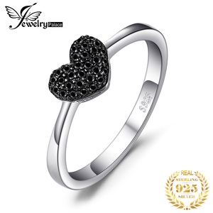 Image 1 - JewelryPalace Heart Natural Black Spinel Ring 925 Sterling Silver Rings for Women Engagement Ring Silver 925 Gemstones Jewelry