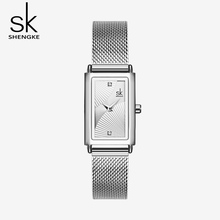 SK Fashion Rectangle Women Watches Steel Ladies Wristwatches Quartz Leather Clock Bayan Kol Saati Female Dress Watch Gift women leather band quartz watches rose gold case fashion casual watch rectangle dial roman number wristwatches bayan kol saati